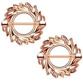PAIR - Rose Gold-Tone Shield of Leaves Nipple Shields
