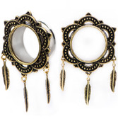 Tribal Floral Triple Feather Dangle Antique Tunnels