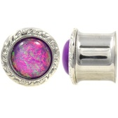 "Purple Foil Top Double Flared Steel Plugs (2g-1"")"