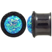 "All Black PVD Steel Vivid Blue Glitter Plugs (2g-1"")"