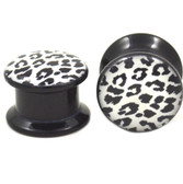 "Black and White Leopard Print Acrylic Ear Plugs (2g-1"")"