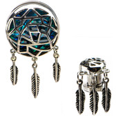 Abalone Dreamcatcher with Feathers Dangle Plugs