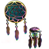 Green Glitter Inlay Rainbow Dreamcatcher Dangle Plugs
