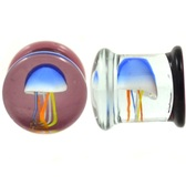 "Multi-Color Jellyfish Pyrex Glass Plugs (0g-5/8"")"