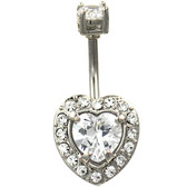 Radiant Heart Sparkle Steel Belly Ring