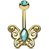 Turquoise Filigree Butterfly Gold-Tone Belly Ring