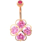 4 CZ Heart Lucky Shamrock Rose Gold-Tone Belly Ring