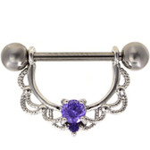 PAIR - Violet Double Gem Filigree Nipple Barbells