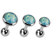 Set of 3 Green Opalite Top Cartilage Barbells