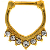 V Shape Gold-Tone Clear Crystal Septum Clicker