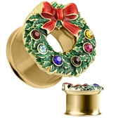 "Festive Christmas Wreath Gold-Tone Tunnels (2g-5/8"")"