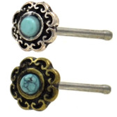 Tribal Filigree Turquoise Center Nose Ring Stud 20G