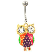 Flashy Gold and Steel Owl Belly Ring w/Clear Eyes