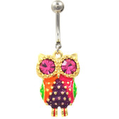 Flashy Gold and Steel Owl Belly Ring w/Pink Eyes