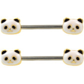 PAIR - Panda Bear Faces Nipple Barbells 14G 9/16""