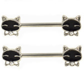 PAIR - Classy Kitty Nipple Barbells 14G 9/16""