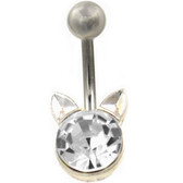 Clear Sparkle Cat Non-Dangle Belly Ring