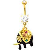 Rainbow Sparkle Black Elephant Belly Ring