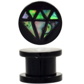 "Diamond Shape Abalone Inlay Acrylic Plugs (0g-5/8"")"