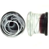 "Smoke Swirls Pyrex Glass Plugs (2g-5/8"")"