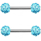 PAIR - Aqua Ferido Ball Nipple Barbells 14G 9/16""