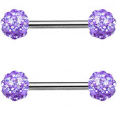 PAIR - Violet Ferido Ball Nipple Barbells 14G 9/16""