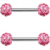 PAIR - Pink Ferido Ball Nipple Barbells 14G 9/16""