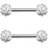 PAIR - Clear Ferido Ball Nipple Barbells 14G 9/16""