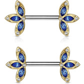 PAIR - Blue Floral Dazzle Nipple Barbells 14G 1/2""
