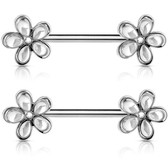 PAIR - Clear Crystal Accent Flowers Nipple Barbells