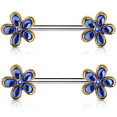 PAIR - Blue Crystal Accent Flowers Nipple Barbells