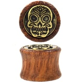 "Gold-Tone Brass Sugar Skull Wood Plugs (0g-5/8"")"
