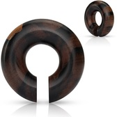 "Organic Black/Brown Wood Hoop Plugs (0g-5/8"")"