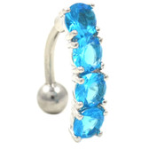 4 Round Aqua Gems Reverse Belly Ring