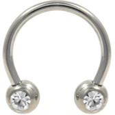 PAIR -  Front Facing Clear Gem Steel Horseshoe Rings
