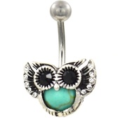 Turquoise Owl Steel Belly Ring