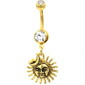 Sun & Moon Celestial Gold-Tone Steel Belly Ring