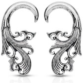 Tribal Spiral Hanger Tapers Silver-Tone Brass (16g-4g)