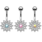 3-Pack Set Crystal Accent Paved Flower Belly Rings