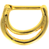 Double Ring Gold-Tone PVD Septum Clicker 16G 5/16""