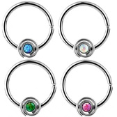 Synthetic Opal Bendable Steel Septum/Cartilage Hoop