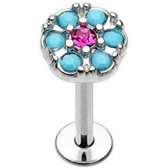 Turquoise & Fuchsia Circle Steel Labret 16G