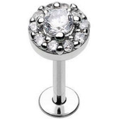 Ornate Clear CZ Bling Steel Labret 16G