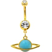 Planet Saturn Glow in the Dark Gold-Tone Belly Ring
