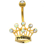 Princess Crown AB/Clear Gold-Tone Steel Belly Ring