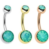 Double Ball Green Opalite Belly Ring