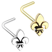 Fleur De Lis L Shaped Nose Ring 20G