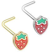 Strawberry L Shaped Nose Ring 20G