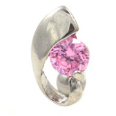 6mm Pink Center Gem Stone Reverse Belly Ring