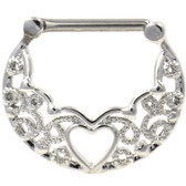 PAIR - Heart Center Filigree Steel Nipple Clickers